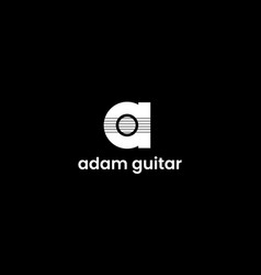 letter a with guitar logo design concept vector image