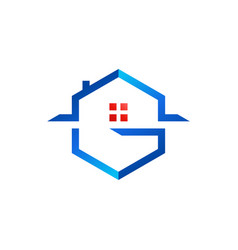 letter g house logo hexagon real estate home logo vector image