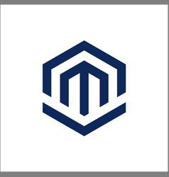 Letter m polygon logo design vector