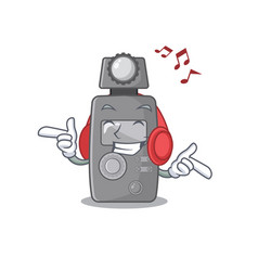 Listening music light meter on cartoon table vector