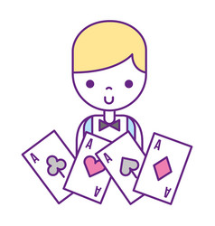 male croupier aces cards casino game vector image