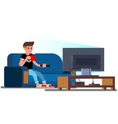 Man watching television couch vector