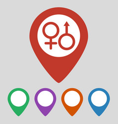 map pointer with sex icon on grey background vector image