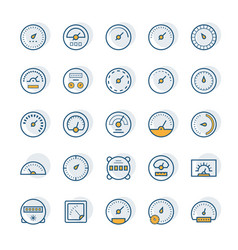 meter icons in thin line style vector image
