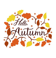 modern brush phrase hello autumn vector image