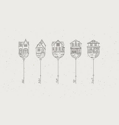 modern graphic house key collection vector image