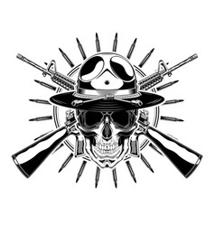 monochrome skull with police headdress sunglasses vector image