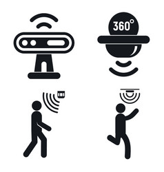 Motion sensor icons set simple style vector