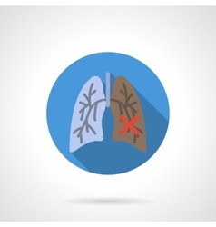 Normal and damaged lungs flat round icon vector image