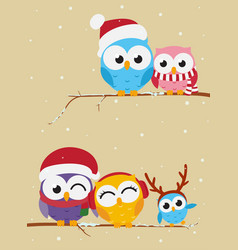 owl family on the branch christmas banner vector image