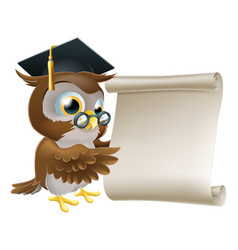 owl with scroll document vector image