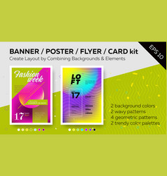 Pack of bright poster templates vector