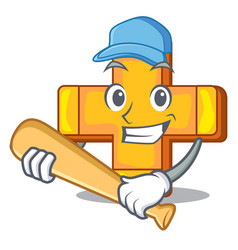 playing baseball character line draw symbol plus vector image