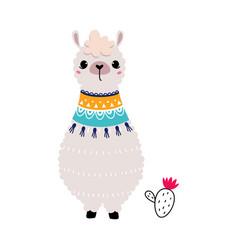 Pretty wolly llama or alpaca wearing knitted scarf vector