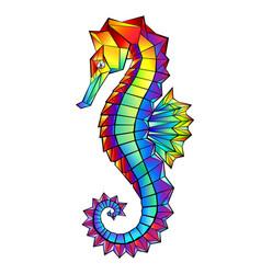 rainbow polygonal seahorse vector image