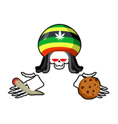 rasta death offers cookies and joint or spliff vector image