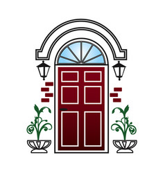 Red door with lanterns and topiary vector