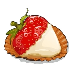Ripe strawberries with cream on plate closeup vector image