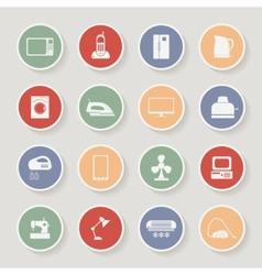 Round home appliances icons vector image