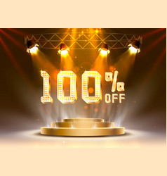Scene golden 100 sale off text banner night sign vector