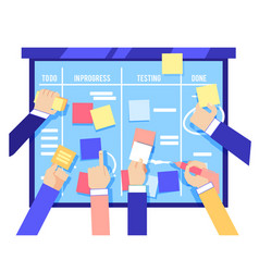 Scrum board concept with human hands sticking vector