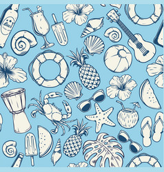 Seamless summer pattern design vector