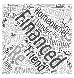Seek Recommendations When Re Financing Word Cloud vector