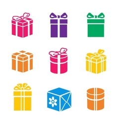set colorful gift box vector image