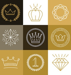 set linear gamification badges vector image