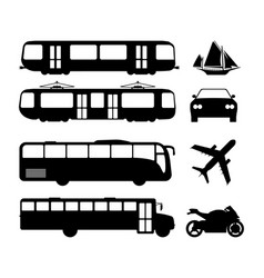 set of flat urban transport icon silhouette vector image