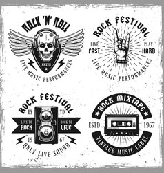 set of four rock music emblems or labels vector image
