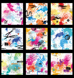 Set seamless pattern with abstract paint vector