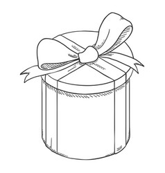 Sketch gift box with ribbon and bow vector