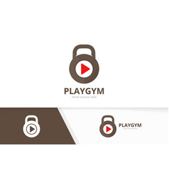 Sport and play button logo combination gym vector