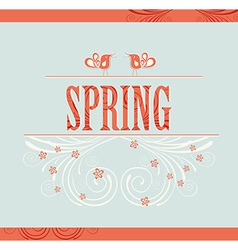 Spring word flowers and birds vector