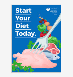 start your diet flat poster vector image