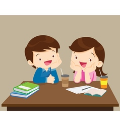 Students boy and girl sitting friendly vector