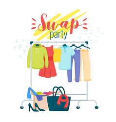 swap party preparation flat poster template vector image