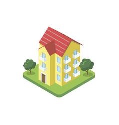 three floor house isometric 3d icon vector image