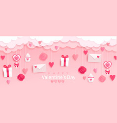 valentines day banner with giftsheartsletters vector image