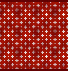 Winter knitted pattern with rhombs and dots vector