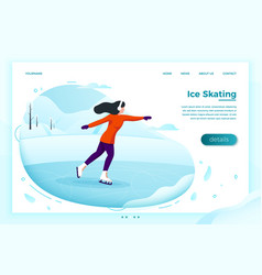 Winter skate rink with skating girl vector