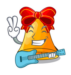 with guitar cartoon christmas bells for christmas vector image