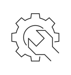 wrench gear outline icon vector image