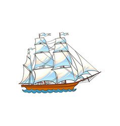 beautiful sailing ship sailboat with white sails vector image vector image