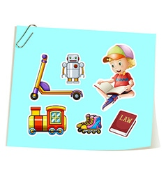 Boy and toys vector image