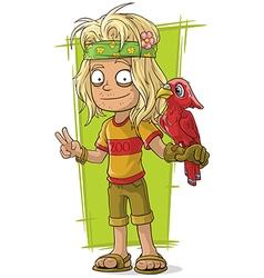 Cartoon hippie man with red bird vector image