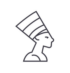 nefertityegypt line icon sign vector image