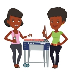 Young friends having fun at barbecue party vector image vector image