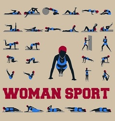 30 sporty woman fitnes vector image vector image